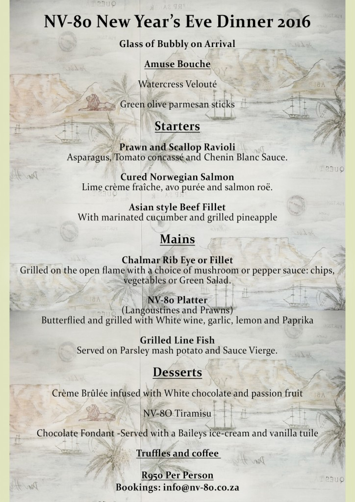 NYE Menu New Years Eve 2016